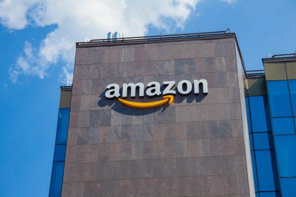 Amazon logo on a wall