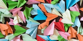 Colored paper airplanes